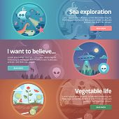 Sea exploration. Science of life. Natural science. Ufology. Flying saucer. Alien abduction. Vegetable life. Botany study. Science of plants. Education and science banners set. Vector design concept. poster
