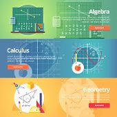 Mathematical science. Algebra. Calculus. Geometry. Exact science. Education and science banners set. Vector flat design concept. poster
