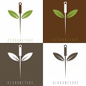 Vector design template of acupuncture needle and leaves poster