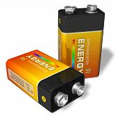 Set of two 9V batteries isolated over white background poster