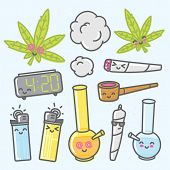 Marijuana kawaii funny cartoon vector objects set poster