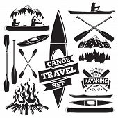 Set of canoe and kayak design elements. Two man in a canoe boat, man in a kayak, boats and oars, mountains, campfire, forest, label. Vector illustration poster