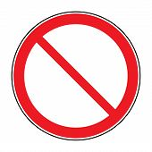 Prohibition sign isolated on white for no entry no entrance wrong way banning concepts. Red prohibition restriction - no entry sign. Red no or not allowed symbol on white background. Stock vector poster