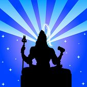shiva - illustration of the indian god with bright rays and sparkling stars poster