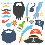 Pirate props set. Party corsair birthday photo booth props. Cocked hat, beard, eyecup, mustache, saber, rum bottle,  bomb, parrot, hook. Vector illustration pirate photo booth props. Pirate props. poster
