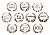 Premium quality guarantee laurel wreaths icons with brown branches, arranged into circle frames with text Best Choice and Special Offer, Premium Product and Money Back Guarantee, adorned by stars, crowns and vintage text dividers poster