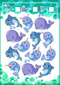 Education counting game for preschool kids with funny animals. How many sharks whales and narwhals do you see? Cartoon vector illustration. poster