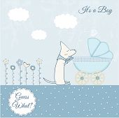 Baby boy arrival announcement retro card. Vector illustration. poster