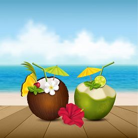 Vector illustration of two coconut cocktail on the beach