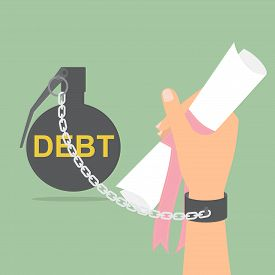 Human hand with debt bomb chained holding certificate paper. Vector illustration student loan with debt concept.