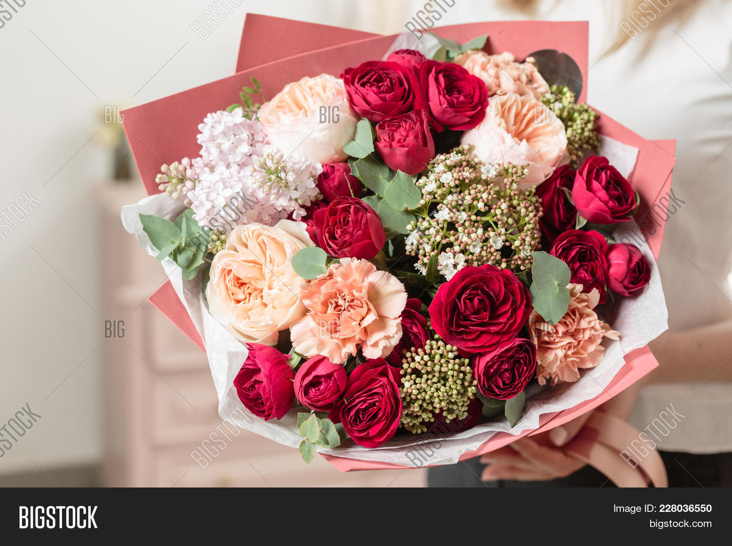 Beautiful luxury image photo free trial bigstock beautiful luxury bouquet of mixed flowers in woman hand the work of the florist at izmirmasajfo
