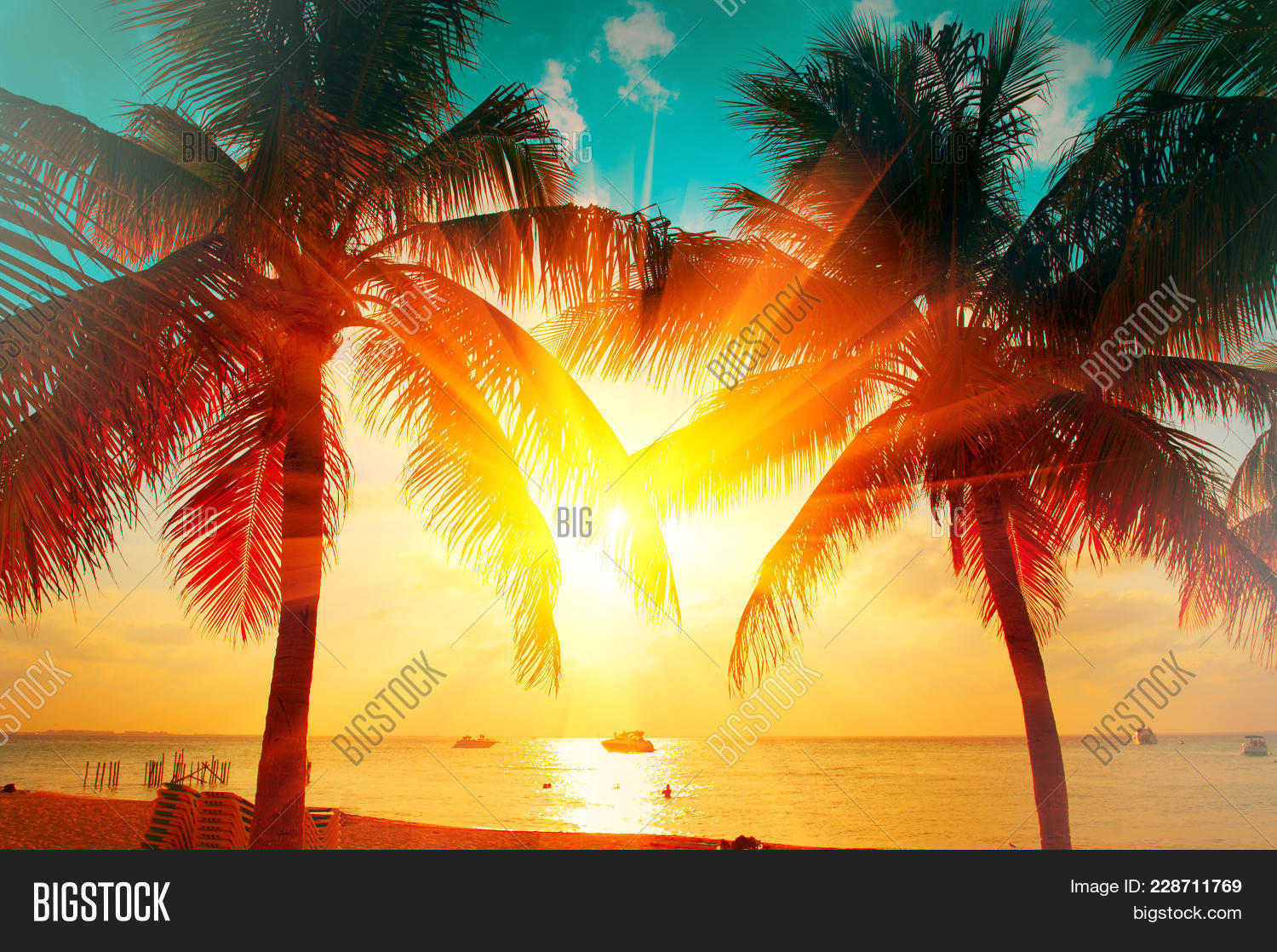 Sunset Beach With Palm Trees And Beautiful Sky Landscape Travel Tourism Vacation Concept