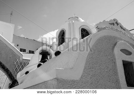 Architecture And Building, Greek Church Bell Tower In Oia, Santorini, Greece