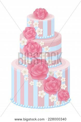 Three-tier Wedding Cake Decorated With Glaze Roses And Sakura Blossom In Pastel Colors Isolated Cart