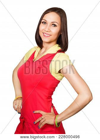 Close Up Portrait Of Young Beautiful Woman Dressed In Red Fitness Clothes Is Engaged In Fitness Isol