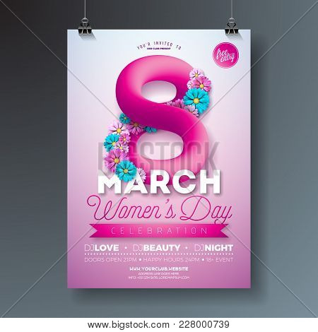 Women's Day Party Flyer Illustration With Abstract Fluid Eight And Flowers On Pink Background. 8 Mar