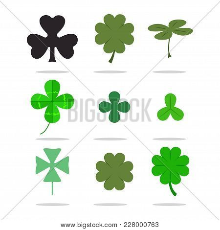 Four Leaf Clover, Shamrock Vector Irish Icons Set. St. Patrick's Day.