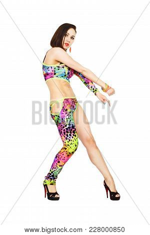Young Beautiful Woman Dressed In Dancing Clothes Is Engaged In Fitness Isolated On White Background.