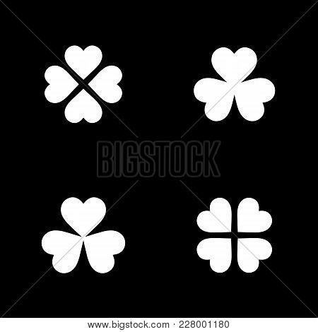 Monochrome Clover Icon Collection In Flat Style. Isolated Clover Icon Collection For Use In Variety