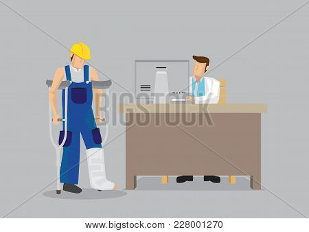 Cartoon Worker Character Wearing Yellow Helmet And Overall With Leg In Plaster Cast Uses Crutches In