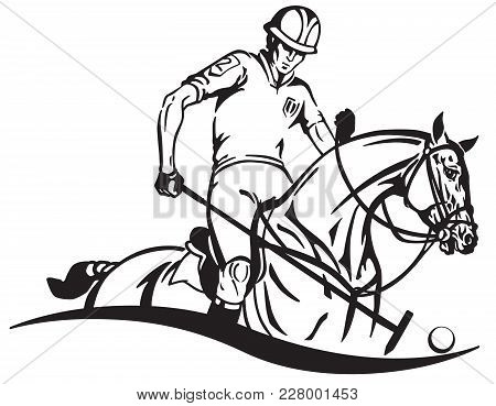 Equestrian Polo Player And Pony Horse . Horseman Sitting On A Horseback And Holding A Long Handled W