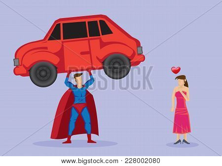 Pretty Damsel In Distress Fall In Love With Superhero Who Shows Off Strength By Lifting A Car. Vecto