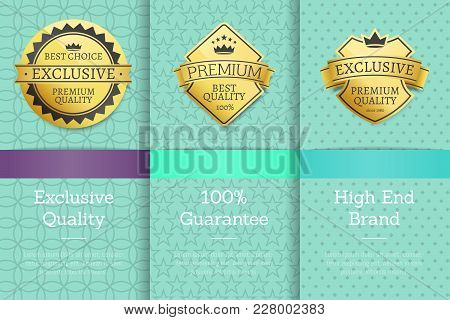 High End Brand 100 Guarantee Exclusive Premium Quality Best Golden Labels Sticker Awards, Vector Cer