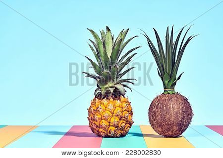 Pineapple And Coconut, Two Tropical Fruits. Bright Summer Color. Creative Minimal. Hot Summer Vibes.