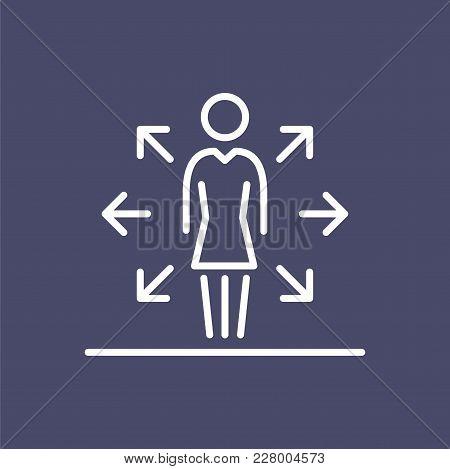 Multi Task Woman Employer Business People Icon Simple Line Flat Illustration.