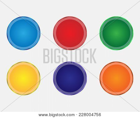 Set Of Color Vector Buttons. Buttons With Metal Colored Contour. Multicolored Round Buttons.