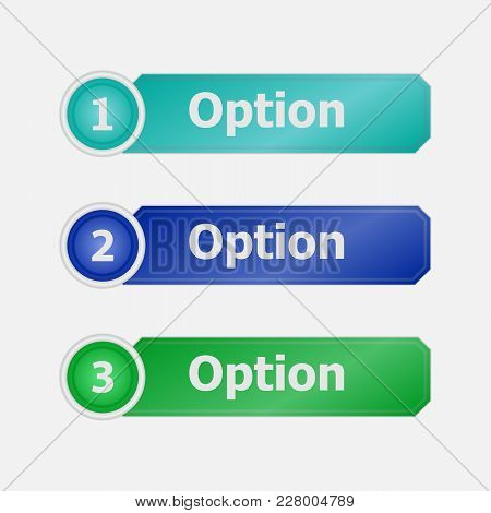Infographic Elements, Three Options. Color Forms For Options. Set Of Forms For Text.