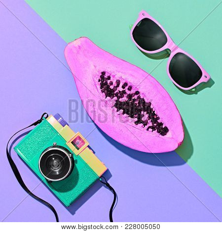 Papaya Tropical Fruit. Bright Sweet Color. Flat Lay. Hot Summer Vibes. Trendy Fashion Accessories Se