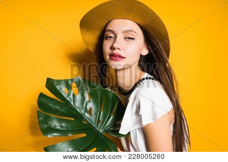 Attractive Stylish Girl In A Fashionable Hat Posing On A Yellow Background, Holding A Green Leaf