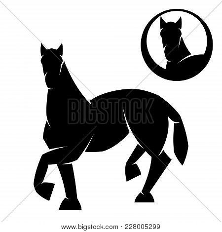 Black Head Horse Icon Vector In Modern Flat Style For Web, Graphic And Mobile Design. Black Head Hor