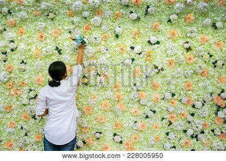 The Girl Behind The Flowers For Wedding. Sweet Flowers Background. . Natural Manicure