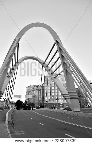 Cable-stayed Lazarevsky Bridge In Sant Petersburg, Russia. Black And White.