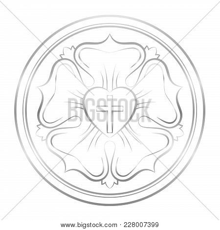Luther Symbol. Symbol Of Lutheranism And Protestants, Consisting Of A Cross, A Heart, A Single Rose