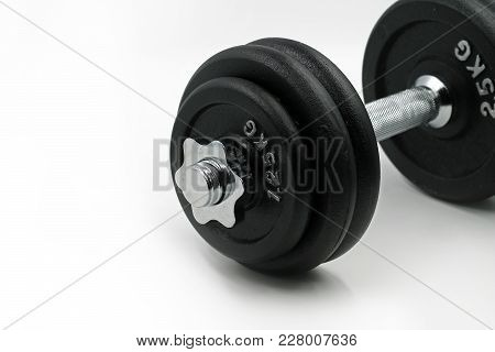Dumbbell Close-up Isolated On White Background Copy Space