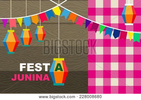 Colorful Flags And Lanterns On Dark Wooden Background And Checkered Tablecloth. Template For Banners