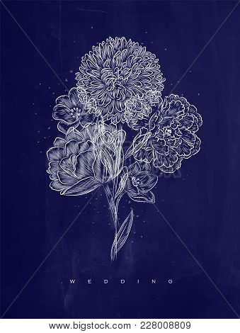 Poster With Elegance Flower Lettering Wedding Drawing On Blue Background