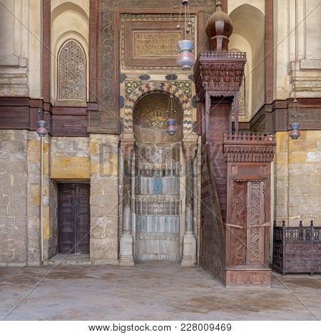 Cairo, Egypt - February 3, 2018: Niche (mihrab) And Pulpit (minbar) Of Mosque Of Sultan Qalawun, Moe