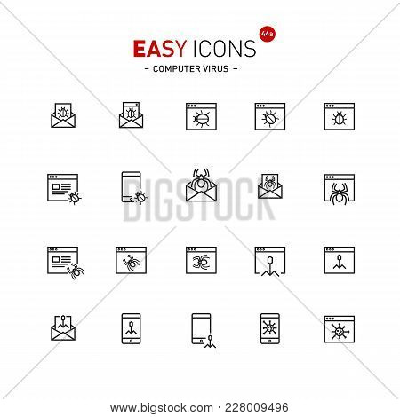 Vector Thin Line Flat Design Icons Set For Computer Viruses And Bugs Theme