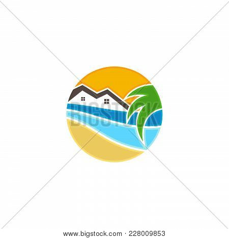 Tropical House With Wave And Coconut Trees. House Icon Vector. House Icon Simple. House Icon App. Ho