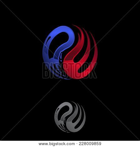 Abstract Vector Logo Template Concept Illustration. Blue Water And Red Fire Flames. Nature Energy De