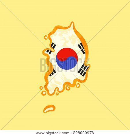 Map Of South Korea Colored With Korean Flag And Marked With Golden Line In Grunge Vintage Style.
