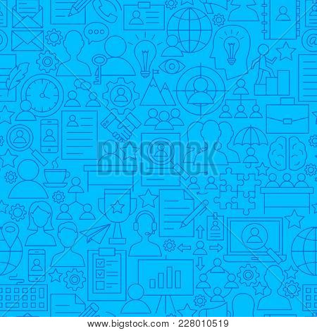 Human Resources Line Seamless Pattern. Vector Illustration Of Outline Tileable Background.