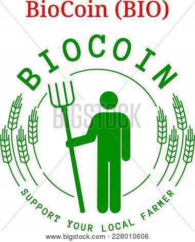 Vector Biocoin (bio) Digital Cryptocurrency Logo. Biocoin (bio) Icon. Vector Illustration Isolated O
