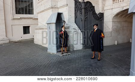 Vatican City, Vatican - February 11, 2018: Pontifical Swiss Guard, Swiss Guard Or Papal Swiss Guards