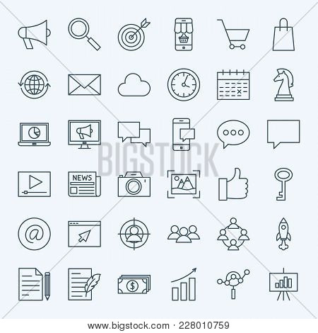 Line Marketing Icons. Vector Set Of Thin Outline Digital Promotion Symbols.
