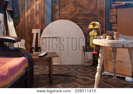 The Interior And Everyday Life Of An Ordinary Carpenter. Housing Person Who Is Engaged In The Manufa